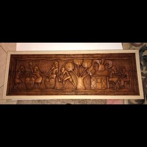 Other - Caribbean solid wood carved picture scene.